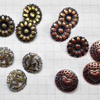Antique Brass & Copper Shank Metal Buttons for Jewelry