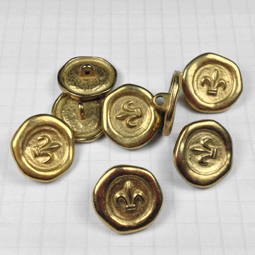 Gold Fleur-de-Lis Metal Buttons for Jewelry