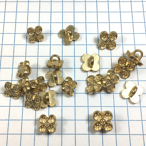Gold 4 Leaf Clover Metal Buttons for Jewelry