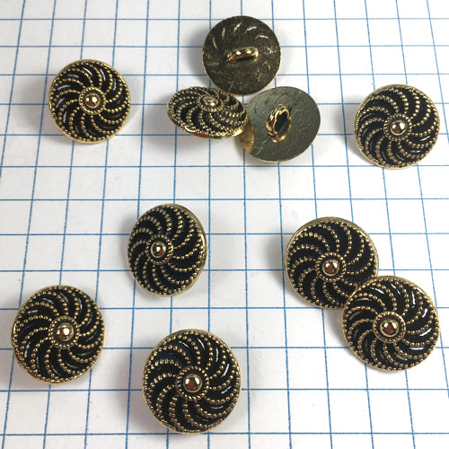 Gold Pinwheel Metal Buttons for Jewelry