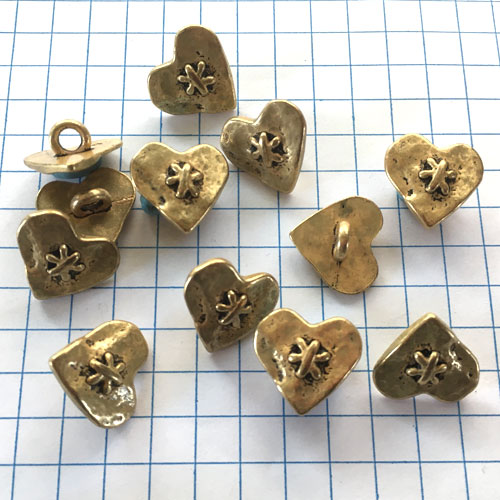 Gold Heart Metal Buttons for Jewelry