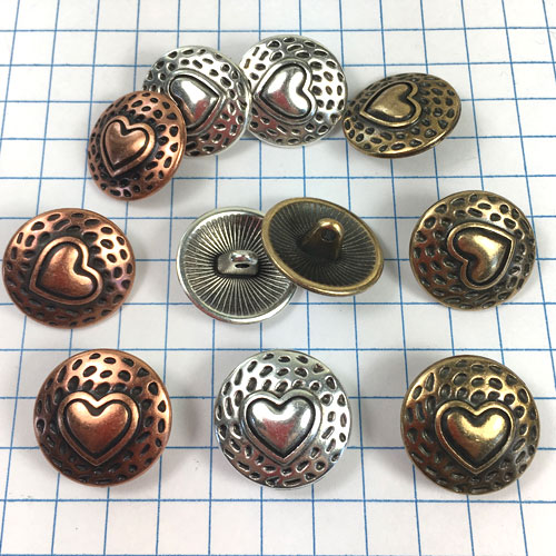 Copper Heart Metal Button