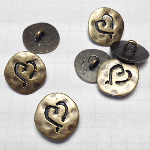 Anitque Brass Heart Metal Buttons for Jewelry