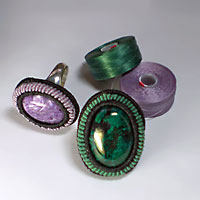 Rings made with C-lon Bead Thread