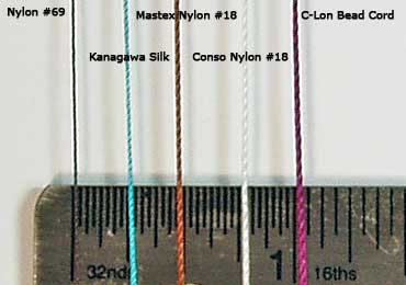 Nylon #69, Kanagawa Embroidery Silk, Nylon #18, C-Lon Bead Cord Thread Sizes