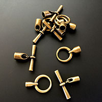 Antique Brass Toggle End Clasps for Kumihimo