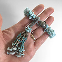 Kumihimo Bracelet & Tassel with Gemstone Chip Beads