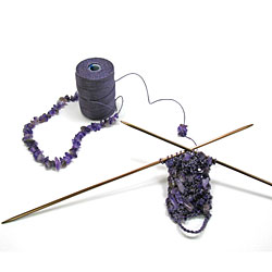 Knitting with Square Needles and C-Lon Bead Cord