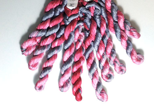 Panaché Tubular Hand Dyed Knit Rayon Ribbon Mini Skein Prefect for Kumihimo