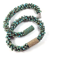 Kumihimo Braclet with Peyote Sleeves