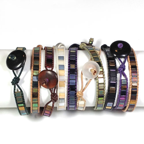 Leather Wrap Bracelets with Tila Bead Kit and Tutorial
