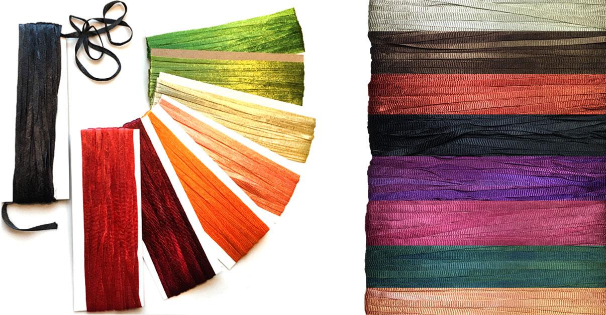 Nylon Knitting Ribbon : Nylon ribbon hand dyed knitted for