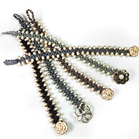 Turkish Flat Bead Crochet Bracelet with Miyuki Baroque Pearls